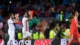 Les joueurs de l'Olympiacos après leur revers à Barcelone à la troisième journée
