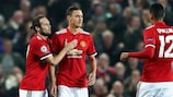 Nemanja Matić (centre) celebrates scoring for Manchester United against Benfica