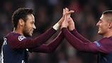 Neymar celebrates with Marco Verratti