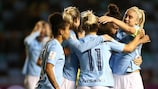 Manchester City celebrate equalising against LSK Kvinner