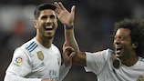 Real Madrid's Marco Asensio celebrates with Marcelo after scoring against Las Palmas