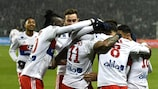 Lyon's players congratulate Memphis Depay after his opener against St-Étienne