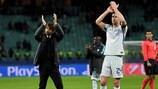 Antonio Conte and Gary Cahill applaud the Chelsea fans