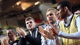 Leipzig players celebrate their matchday five win at Monaco