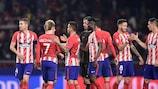 Los jugadores del Atlético celebran el triunfo