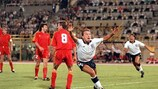 England's David Platt celebrates scoring against Belgium at the 1990 FIFA World Cup finals