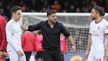 Gennaro Gattuso reacts after his first game as Milan coach ends in a dramatic draw
