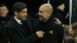 Manchester City manager Josep Guardiola with Shakhtar coach Paulo Fonseca