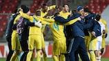 Astanas Spieler bejubeln den Einzug in die Runde der letzten 32 nach dem Sieg über Slavia Praha