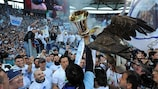 Lazio and their mascot, an eagle, after winning the 2013 Coppa Italia
