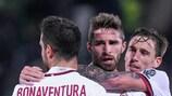 Fabio Borini celebrates AC Milan's third goal at Ludogorets