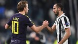 Tottenham's Harry Kane (left) and Giorgio Chiellini of Juventus after the first leg