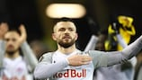 Valon Berisha leads Salzburg's celebrations at Dortmund