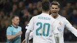 Cristiano Ronaldo celebrates his crucial late goal for Madrid on his 150th UEFA Champions League appearance