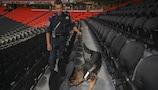 A stadium bomb sweep