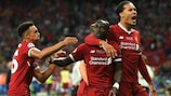 Sadio Mané (centre) after scoring Liverpool's 47th goal of the campaign