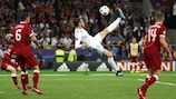 Gareth Bale's spectacular overhead kick gives Real Madrid their second goal in the 2017/18 UEFA Champions League final against Liverpool