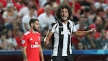 PAOK's Amr Warda celebrates scoring at Benfica