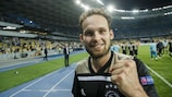 Daley Blind celebrates as Ajax beat Dynamo Kyiv in the play-offs to seal their place in Pot 3