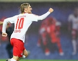 Emil Forsberg brachte RB erst mit einem Last-Minute-Elfmeter gegen Luhansk in die Gruppenphase