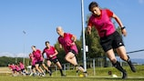 Female referees at their fitness session in Nyon