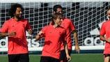 Les joueurs du Real Madrid à l'entraînement