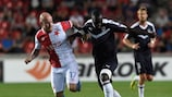 Bordeaux's Youssouf Sabaly (right) in action at Slavia last time out