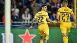 Christian Pulišić après son but de la victoire pour Dortmund sur le terrain de Bruges