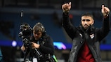 Nabil Fekir celebrates Lyon's matchday one win in Manchester