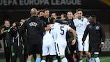 Os jogadores do Sporting festejam um dos golos da vitória sobre o Vorskla