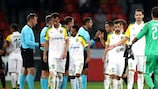 AEK Larnaca players react to their matchday two defeat