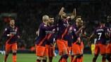 O Manchester City celebra o golo da vitória sobre o Tottenham