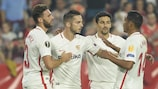 Pablo Sarabia (second left) after scoring for Sevilla against Akhisar on matchday three