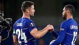 Chelsea's matchday three hat-trick scorer Ruben Loftus-Cheek (right) with captain Gary Cahill