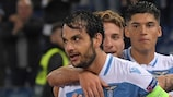 Marco Parolo after setting Lazio on the way to victory against Marseille
