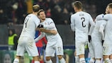 Plzeň celebrate their crucial matchday five victory