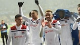 Lyon celebrate their crucial point at Shakhtar Donetsk