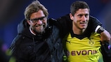 Jürgen Klopp e Robert Lewandowski al Dortmund