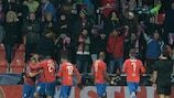 Plzeň players celebrate their first-leg victory