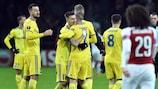 BATE celebrate their first-leg victory