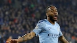 Raheem Sterling after scoring a 90th-minute winner for Manchester City in the first leg