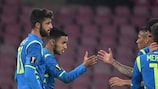 Napoli celebrate during their round of 32 second-leg win against Zürich