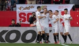 Wissam Ben Yedder (centre) after scoring Sevilla's 100th #UEL goal, group stage to final, in the last 32 second leg