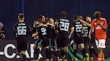 Dinamo Zagreb celebrate their first-leg victory against Benfica