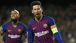 Lionel Messi struck twice as Barcelona reached the quarter-finals