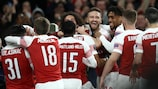 Arsenal celebrate their round of 16 victory