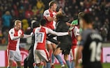 Slavia Praha celebrate their dramatic defeat of Sevilla