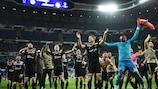Ajax celebrate their victory at Real Madrid