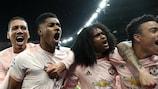Manchester United celebrate reaching the quarter-finals