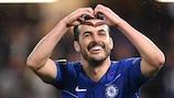 Pedro comemora um golo pelo Chelseo na UEFA Europa League